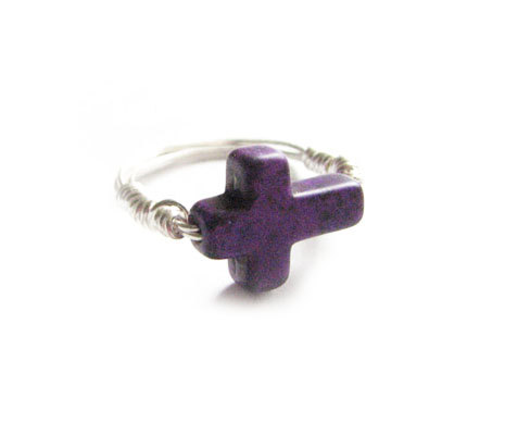 Purple Turquoise Cross Ring Wire Wrapped Any Size Custom Jewelry in Silver Gold Copper