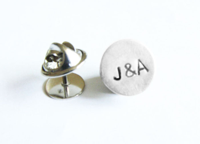 Tie Tack Monogram Lapel Pin Personalized Custom Accessory Gift for Groom Man Father Dad Groomsman tux studs
