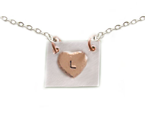 Copper Heart Square Initial Necklace Customize Hand Stamped Hammered Personalized Pendant Wedding Birthday