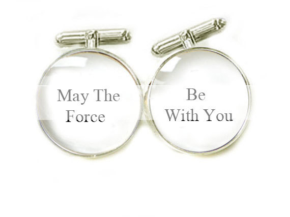 Men Cufflinks May the force be with you personalized keepsake gift for him guys Wedding father cuff links