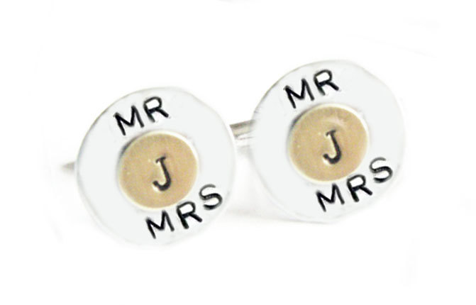 Two Tone Initial Cufflinks Inscribed Men Cuff links personalized keepsake gift for him guys father wedding 2 Tone