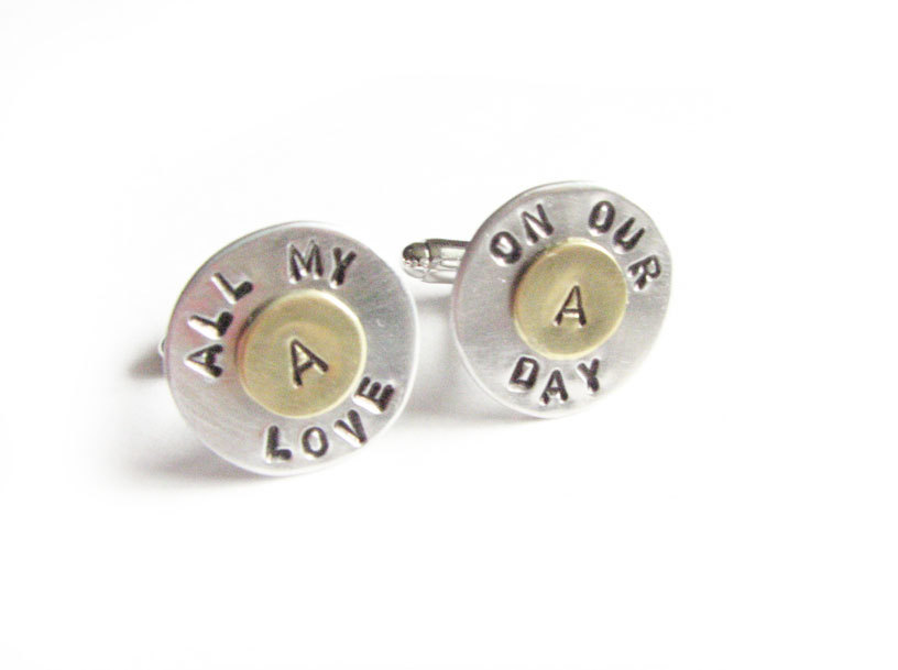 All my love Initial Cufflinks Hand Stamped Men Cuff links personalized keepsake gift for him guys wedding