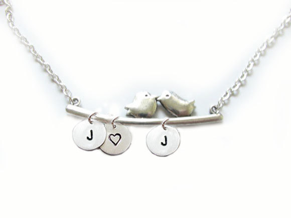 2 Bird Initial Necklace Custom Metal Hand Stamped Pendant Personalized Jewelry Charms
