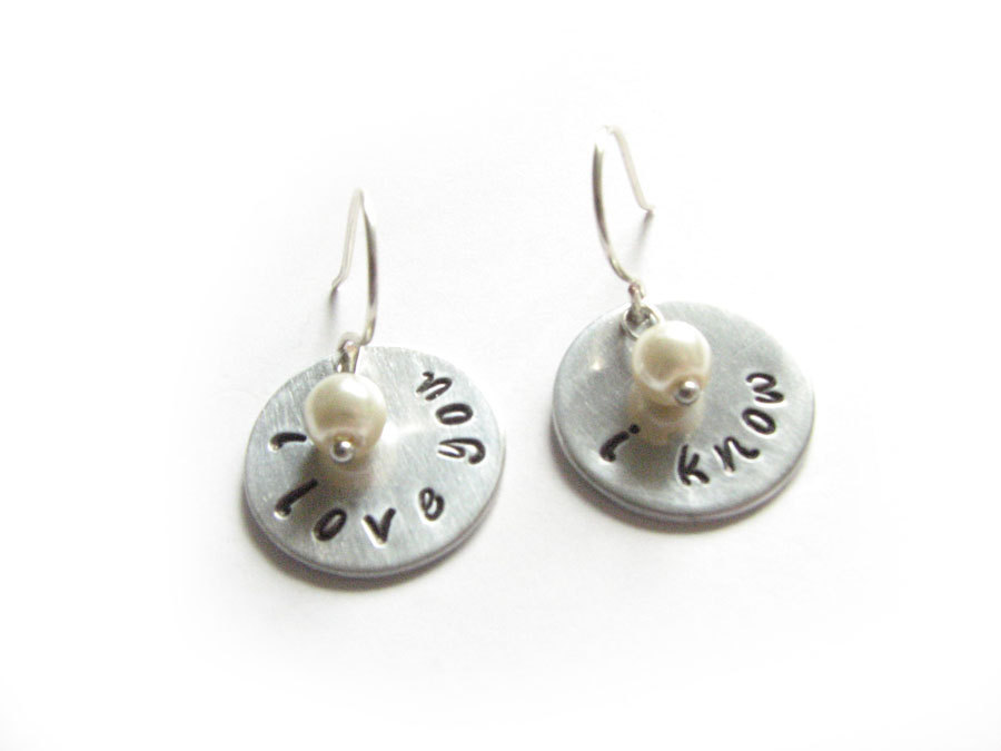 Sterling Silver Star Wars I love you I know Hand Stamped Earrings Wire Wrapped Dangle Pearl Bead Charm Jewelry