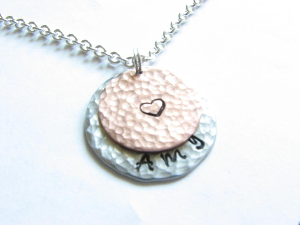 2 Hammered Necklace Personalized Hand Stamped Custom Pendant chain copper