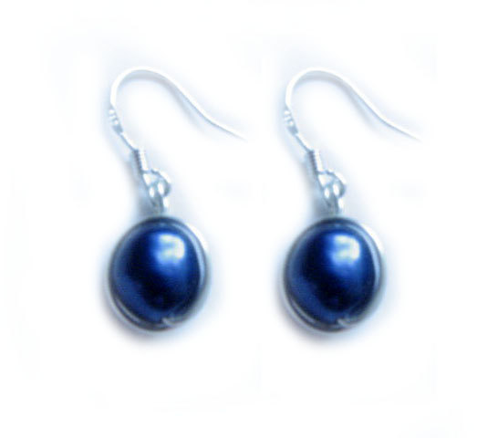 Blue Pearl Sterling Silver Earrings Wire Wrapped Dangle Jewelry wedding birthday graduation