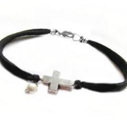 Silver Cross Bracelet Wire Wrapped Black Leather Suede Dangle Bead Jewelry Birthday wedding