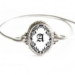 Wire Wire Initial Bracelet Silver Wire Wrapped Bangle Jewelry Black &amp; White