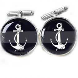Black Anchor Men Cufflinks Custom Black White personalized Wedding keepsake gift for him guys men father photo cuff links birthday