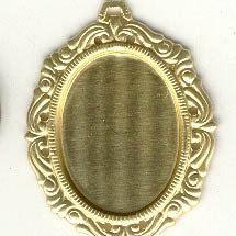 Brass Pendant 40x30mm or 25x18mm  Oval Picture Frame Setting for Cabochon Cameo Jewelry Findings setting