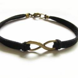 Bronze Infinity Bracelet Wire Wrapped Black Leather Suede Bronze Jewelry