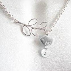 Sterling Silver Bird Initial Leaf  Necklace Personalized Hand Stamped Pendant Chain Jewelry leaf