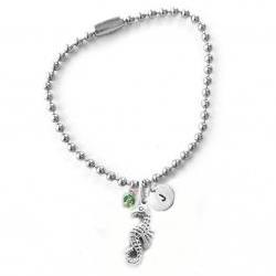 Seahorse Initial Anklet Hand Stamped Charm Anklet Bracelet Bead Customize Choice of Aluminum Brass Copper