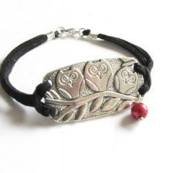 3 Owl Bracelet Wire Wrapped Black Leather Suede Jewelry with Pearl and Bead charm
